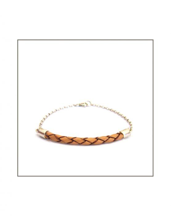 Leather-ette - Woven Tan & Silver Bracelet