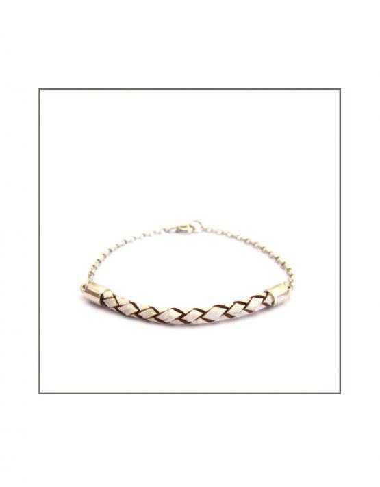 Leather-ette - Woven White Leather & Silver Bracelet