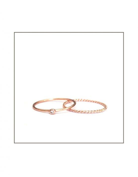 Rose Gold Diamond Spec & Twist Ring Set