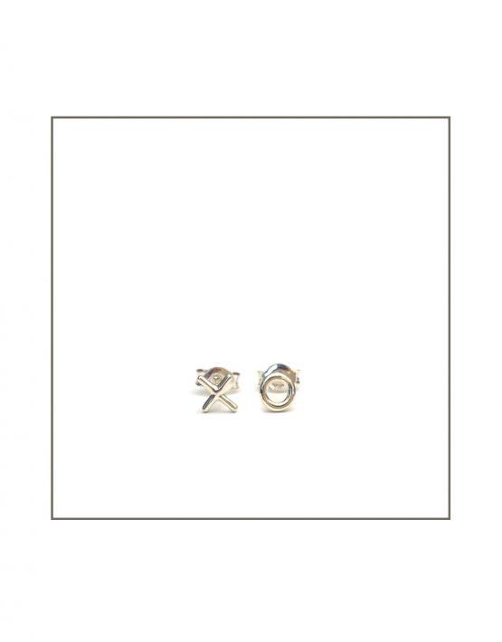 Silver XO stud earrings