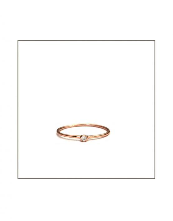 Spec Ring - Rose Gold & White Diamond