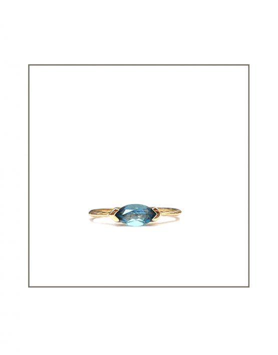 Hammock Ring - Gold & Sky Blue Topaz
