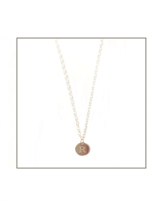 Silver Initial Disk Necklace