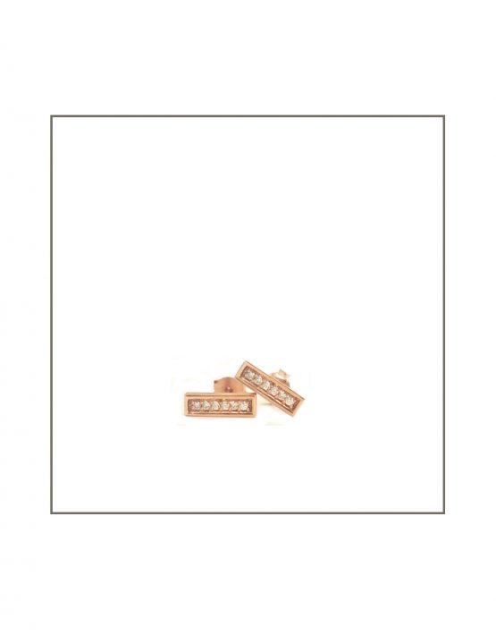 9ct Rose Gold & Diamond Bar Stud Earrings