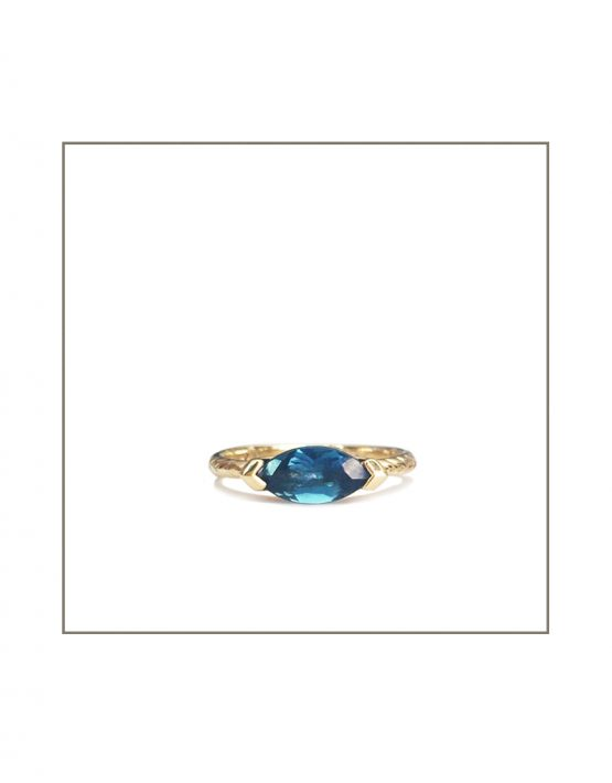Hammock Ring - Gold & London Blue Topaz 10x5