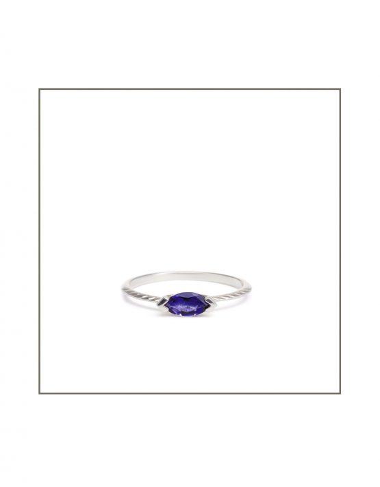 Hammock Ring - Silver & 8X4 iolite gemstone Ring