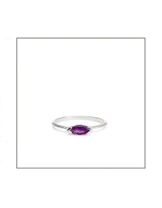 Hammock Ring Silver & 8x4 Amethys Gemstone