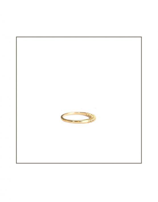 Tube Set Diamond Ring Side Yellow Gold
