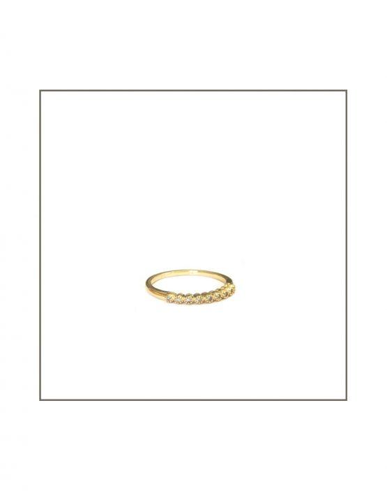 Tube Set Diamond Ring Turned Yellow Gold