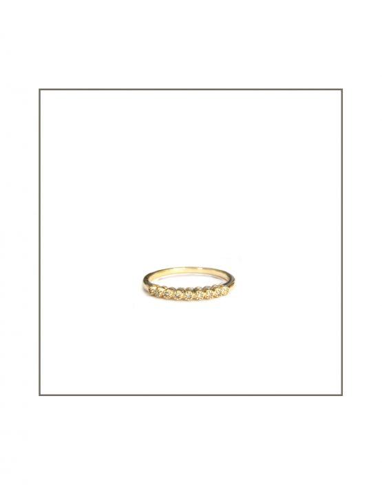 Tube Set Diamond Ring Yellow Gold