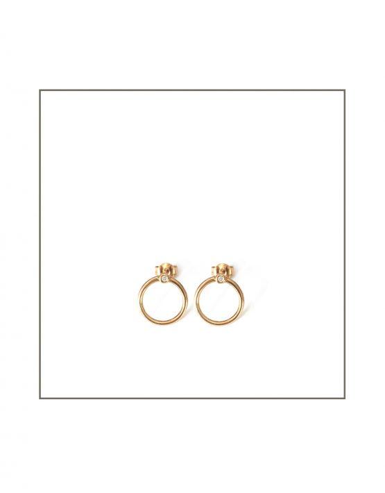 Gold Abbey Hoop Stud Earrings