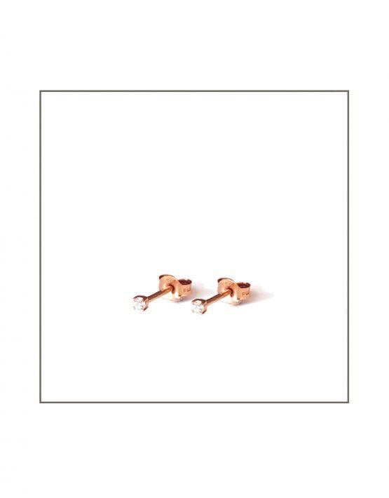 Rose Gold & Diamond Stud Earrings view