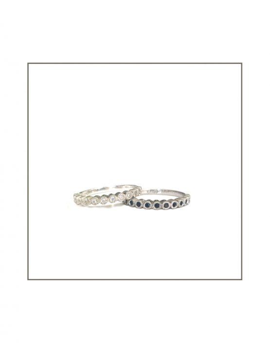 Tube Set Black & white Diamond Ring 1.3mm