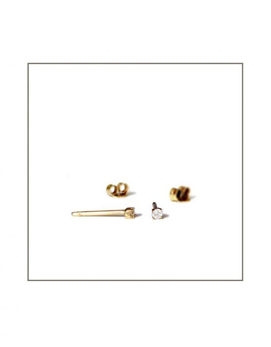 Yellow Gold & Diamond Stud Earrings parts