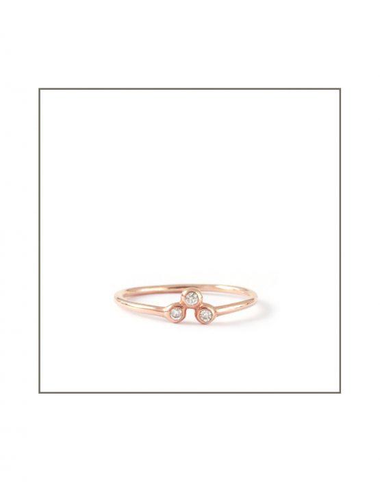 9ct Rose Gold Trio Diamond Spec Ring
