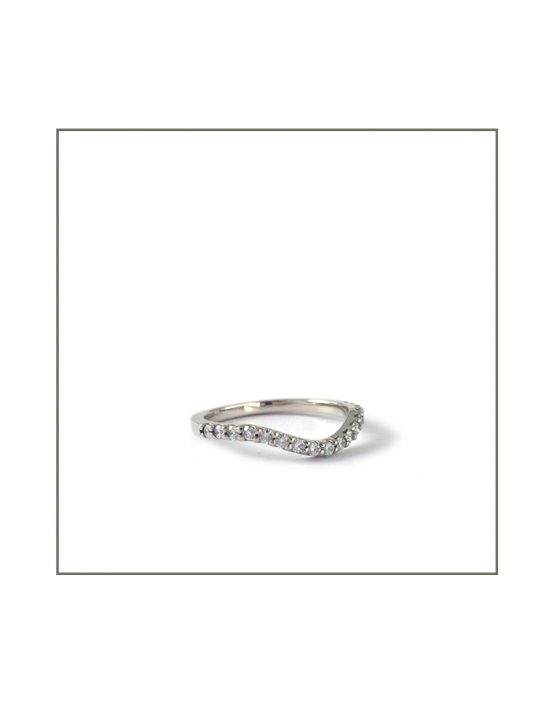 Curved White Gold Wedding Band Side View