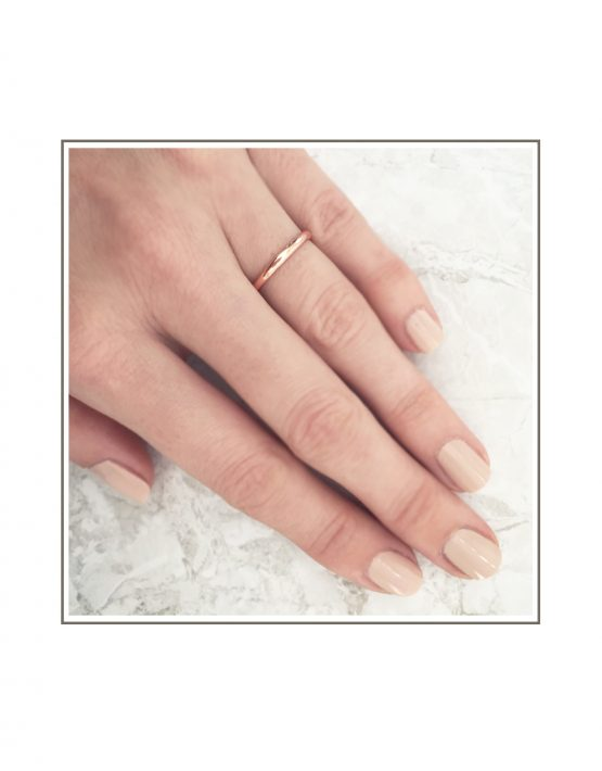 Half Round 9ct Rose Gold Band Styled Hand