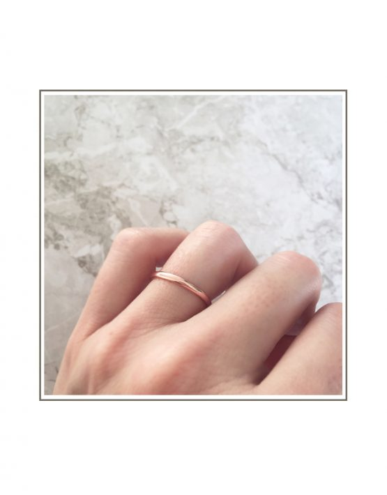 Half Round 9ct Rose Gold Band Styled tw
