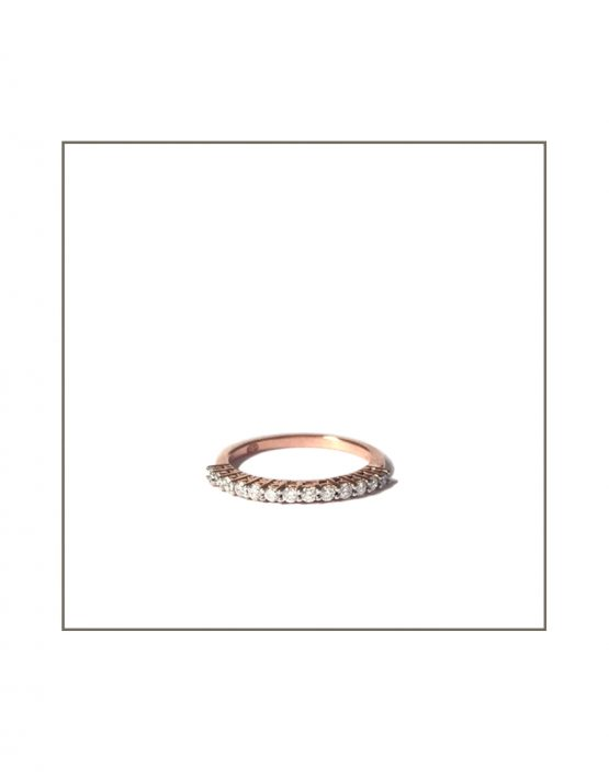 Rose Gold Diamond Gallery Pin Claw Ring