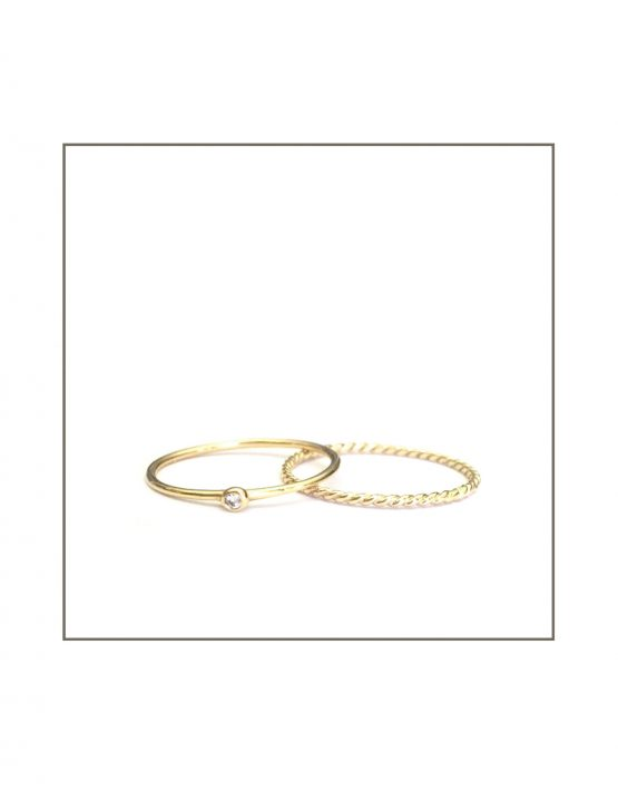 9ct Yellow Gold Twist & Spec Ring Set