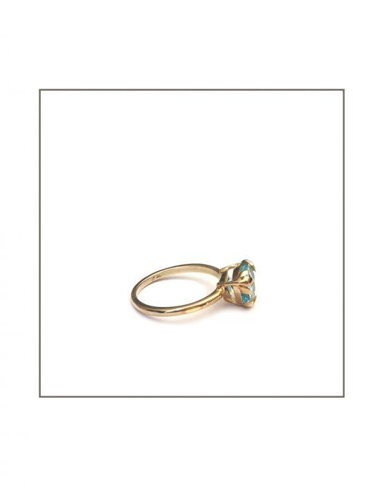 Foliage Ring - Gold & Sky Blue Topaz Side