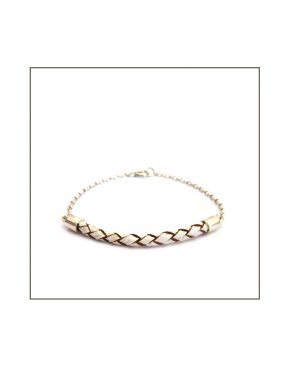 Leather-ette - Woven White Leather & Silver Bracelet