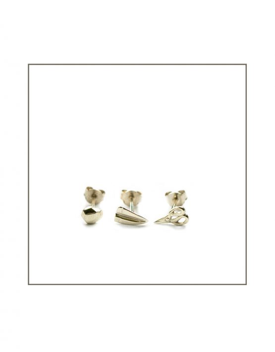 Silver Rock Paper Scissor Trio Stud Earring Set
