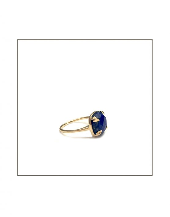 Warrior Ring- Yellow Gold & Lapis Lazuli Ring