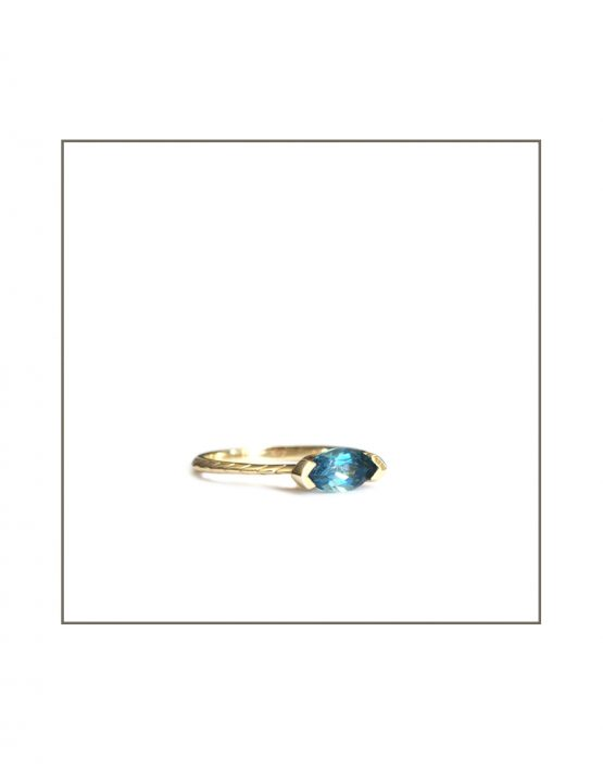 Hammock Ring - Gold & Sky Blue Topaz Side