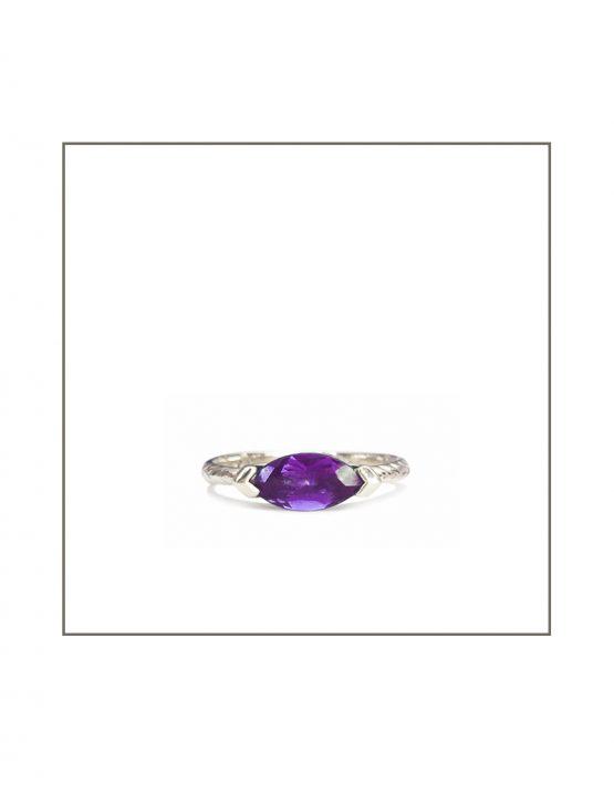 Sterling Silver Hammock 10x5 Amethyst Ring