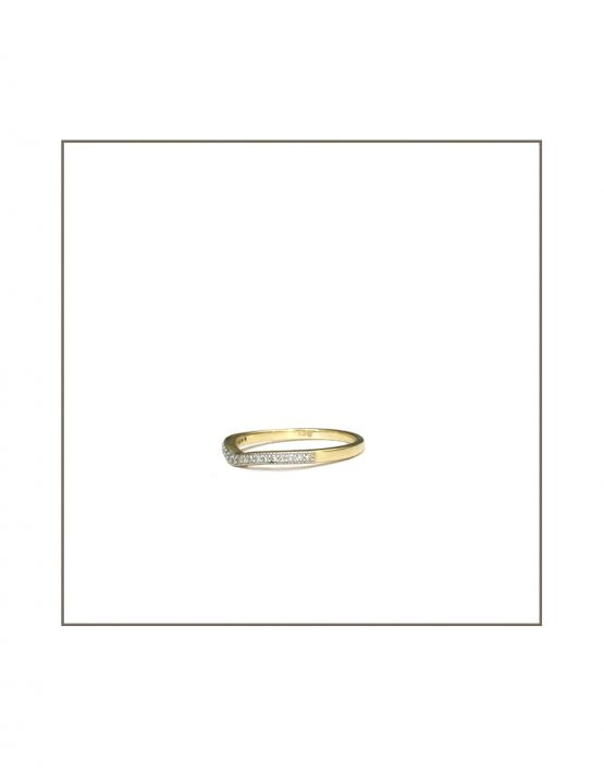 9ct Yellow Gold Arch Curve Diamond Band Side