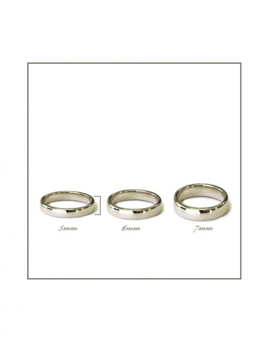 White gold gents rings 5-7mm