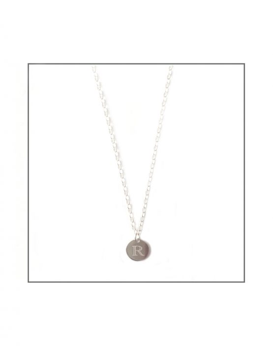 Sterling Silver Initial Disk Necklace
