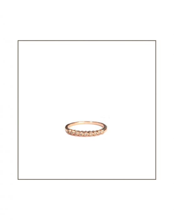 Tube Set Diamond Ring Rose Gold
