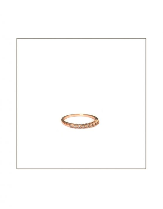 Tube Set Diamond Ring Turned Rose Gold