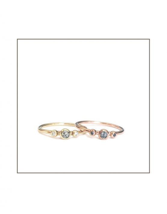 9ct Rose & Yellow Gold Salt & Pepper Rings