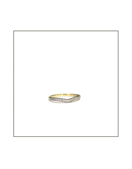 9ct Yellow Gold Arch Curve Diamond Band