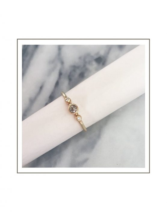 Yellow Gold Salt & Pepper Diamond Ring Styled