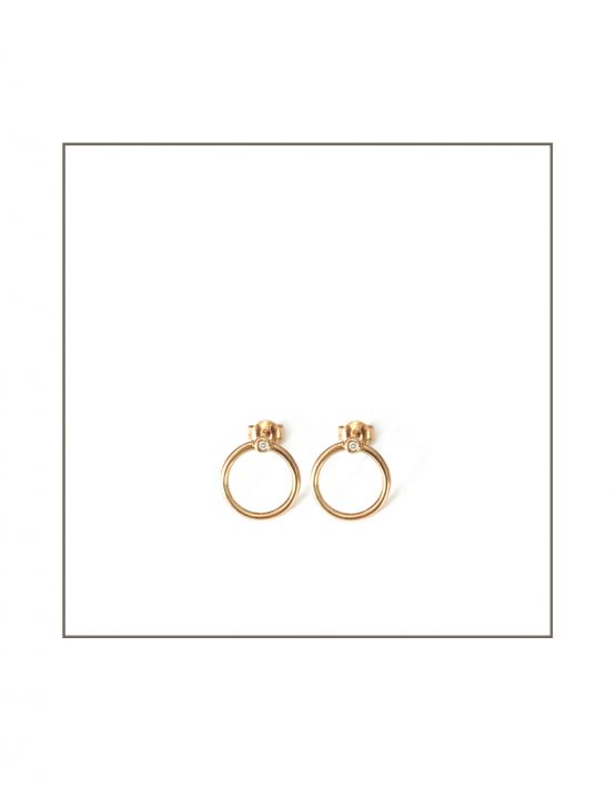 Gold Abbey Hoop Stud Earrings