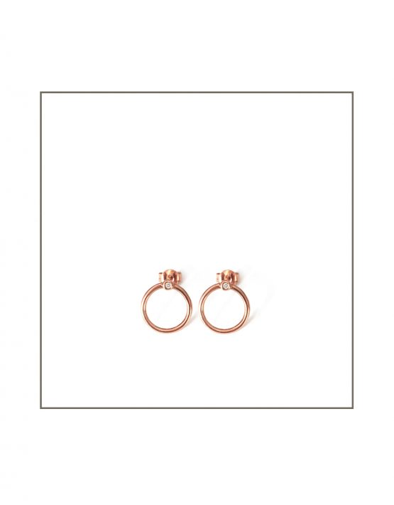 Rose Gold Abbey Hoop Stud Earrings
