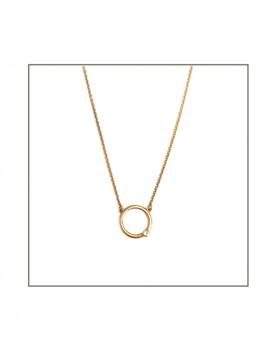 ct Yellow Gold & Diamond Abbey Hoop Necklace