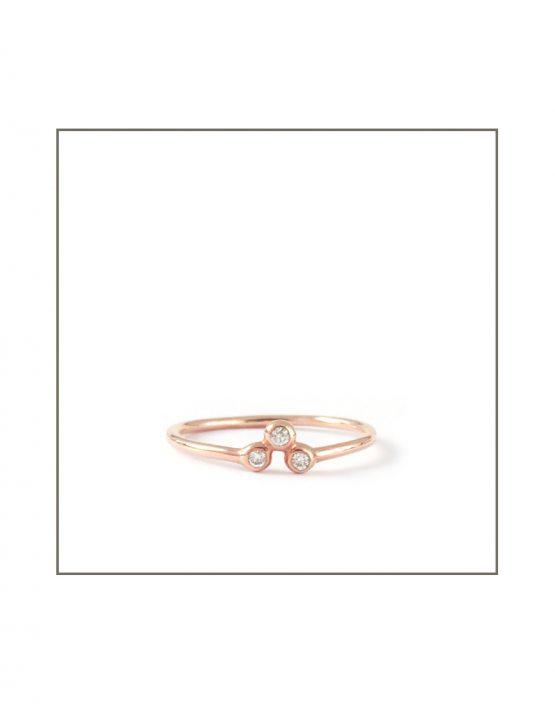 9ct Rose Gold Trio Diamond Spec Ring