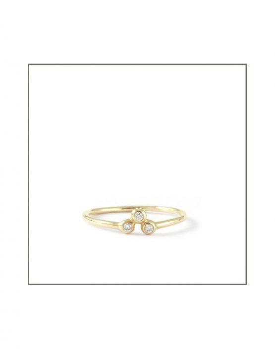 9ct Yellow Gold Trio Diamond Spec Ring