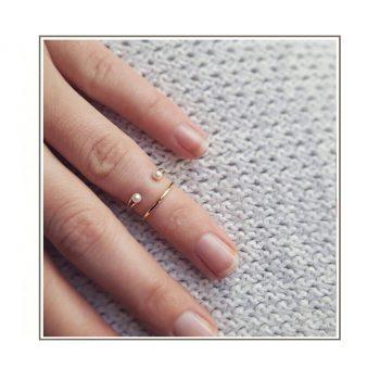 Gold Pearl Midi Rings