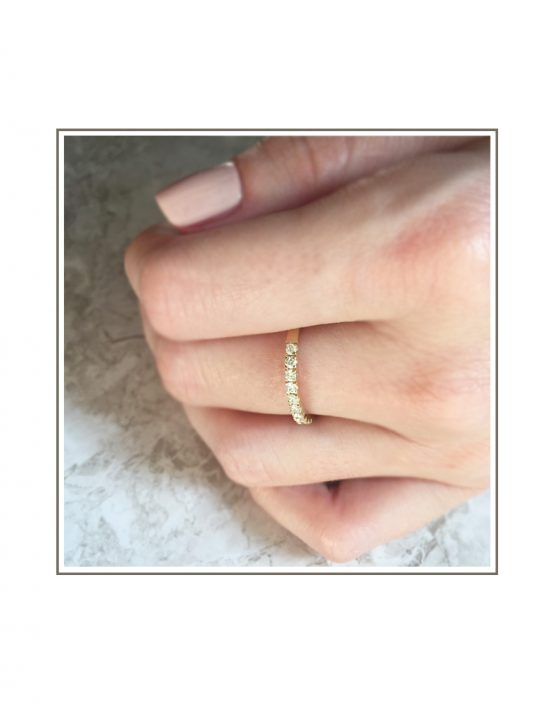 Yellow Gold Diamond Wedding Band Styled on Hand