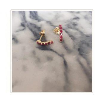 Yellow Gold Ruby Half Hugger Stud Earrings